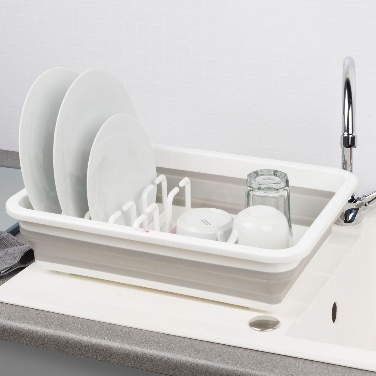 Kleeneze  Collapsible Dish Drainer White/Grey