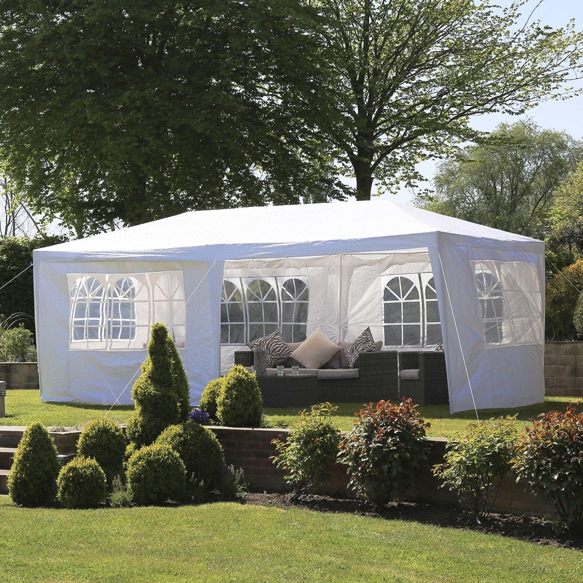 Charles Bentley 3 x 6m PE Gazebo with Side Panels - White