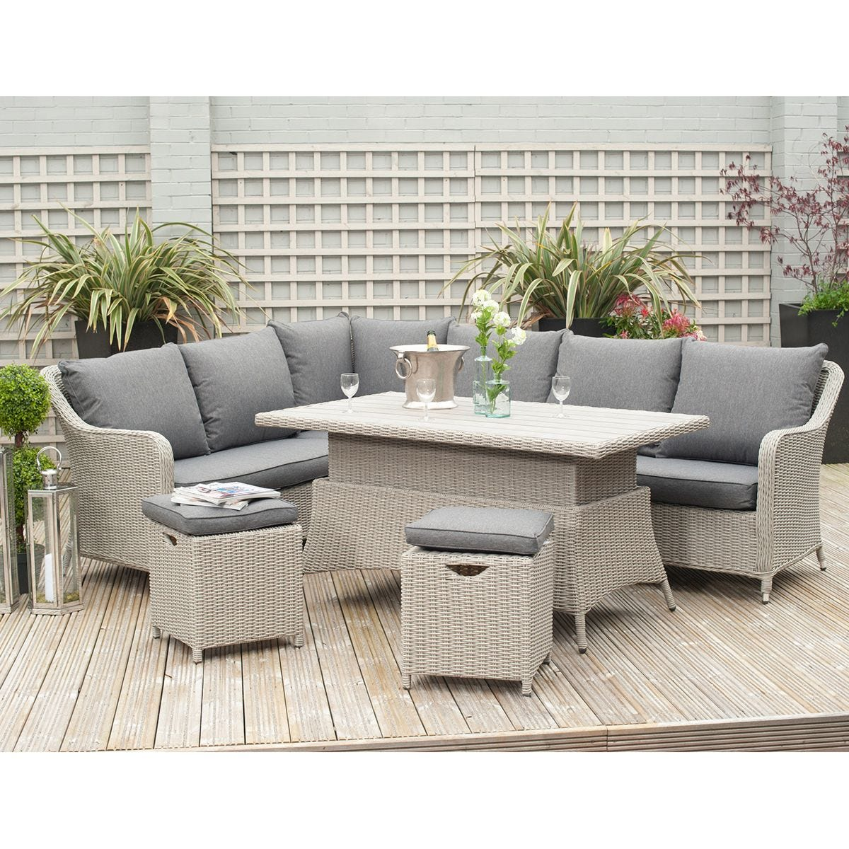 Pacific Lifestyle Antigua Corner Dining Set with Adjustable Table - Stone Grey