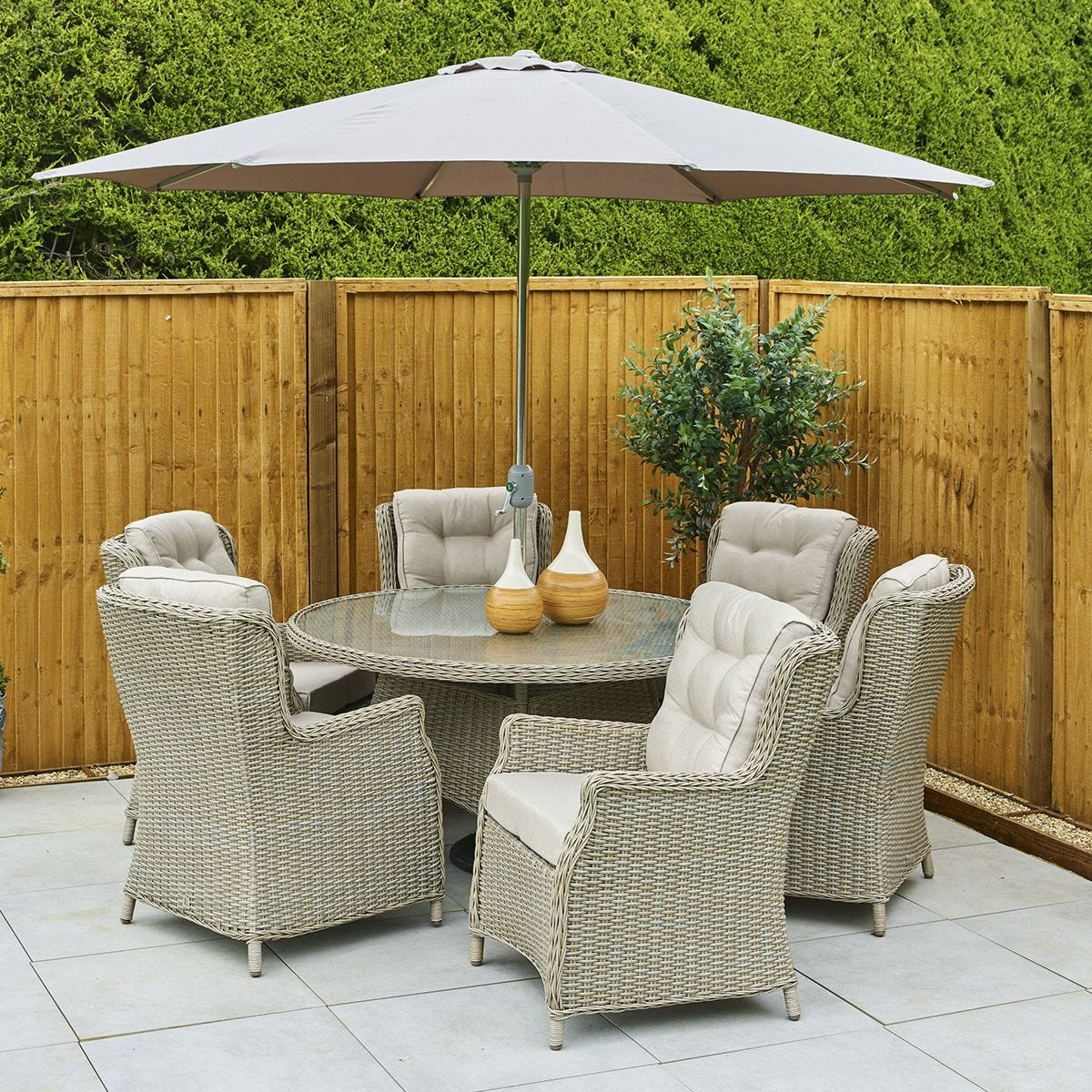 LG Outdoor Toulon 6 Seat Highback Dining Set with Lazy Susan, 3m Parasol and Base