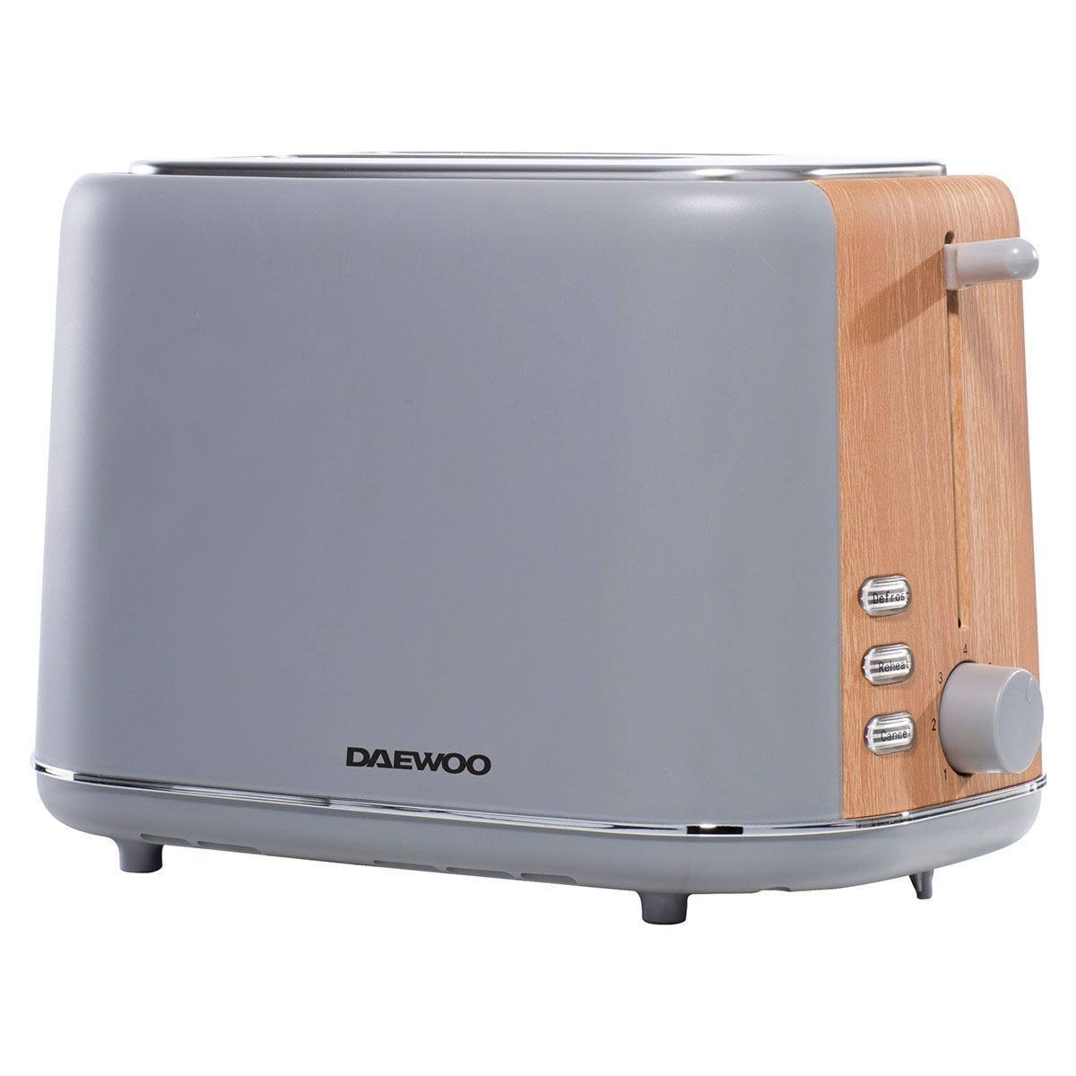 Daewoo SDA1737 800W Stockholm 2–Slice Toaster with Wood Effect – Grey