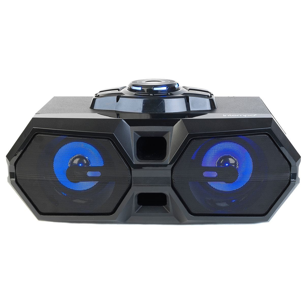 Intempo Rechargeable Bluetooth LED Party Speaker for iPhone, Android and Other Smart USB Devices - Black