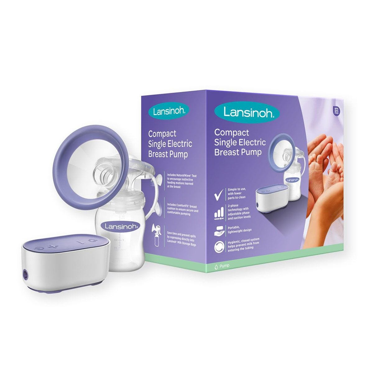 Lansinoh LN54091 Compact Electric Breast Pump – Purple & White