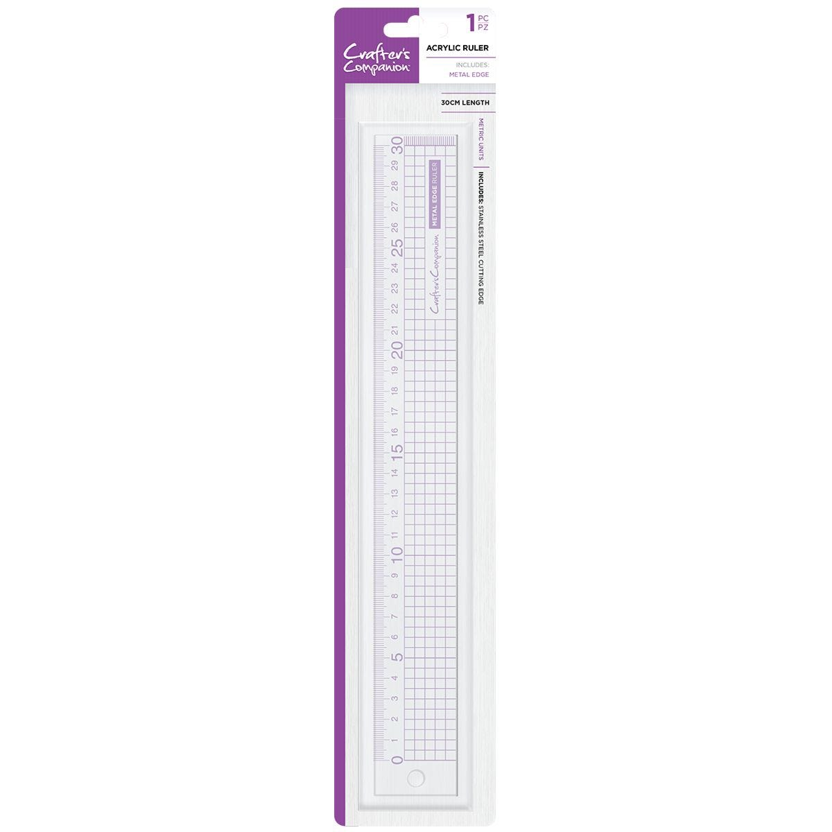Crafter's Companion Metal Edge Acrylic Ruler - 30cm