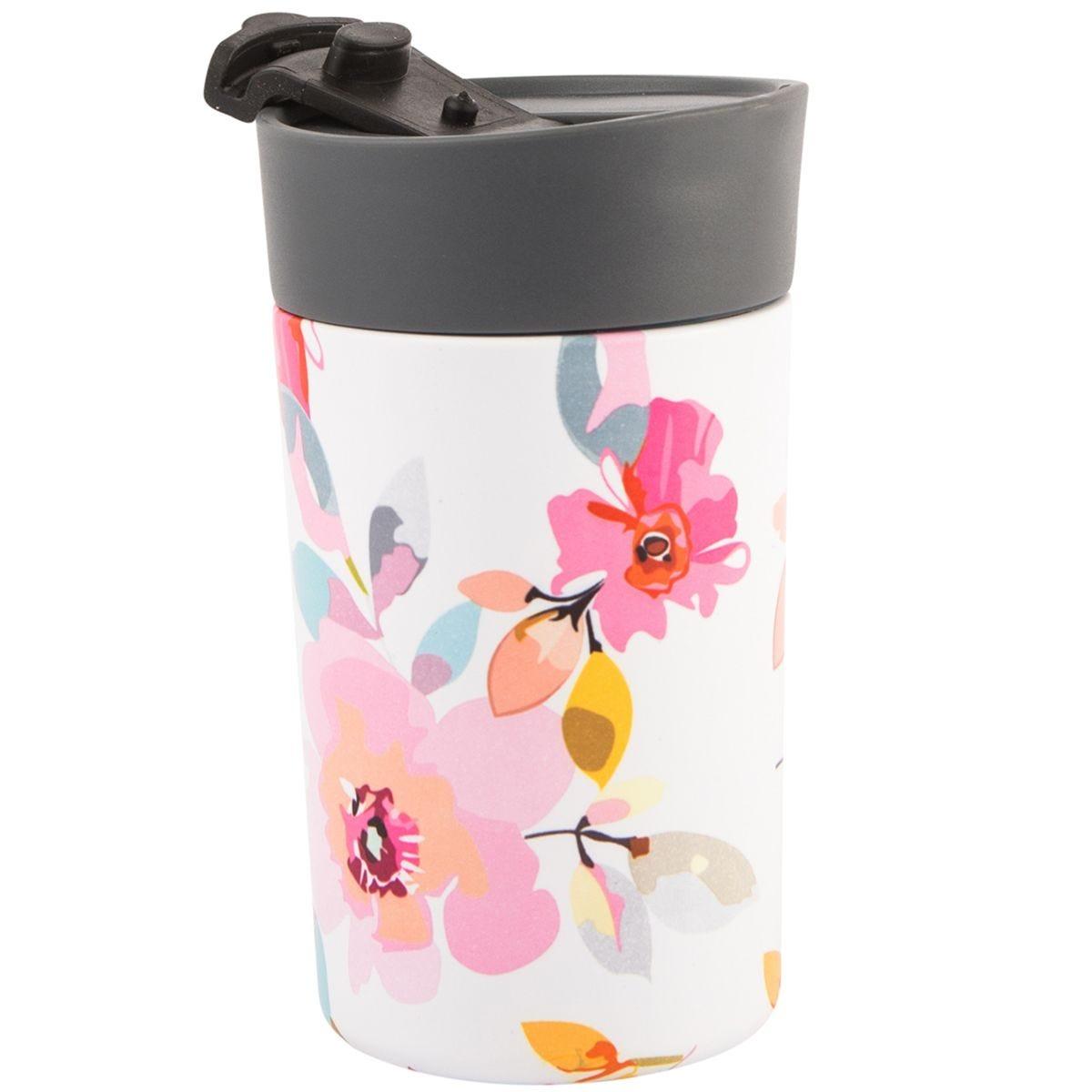 Beau and Elliot Gardenia White Floral Insulated Travel Mug - 300ml