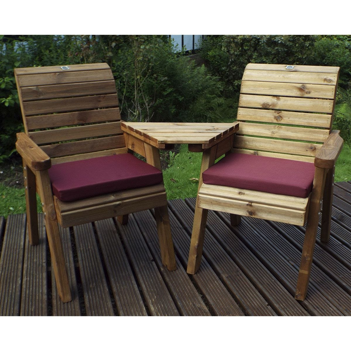 Charles Taylor Twin Companion Set Angled with Burgundy Cushions and Fitted Cover