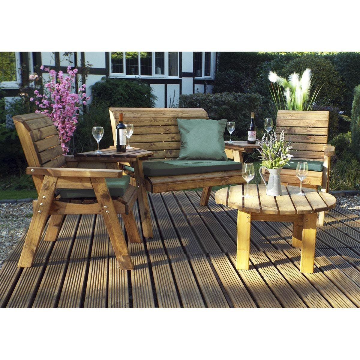 Charles Taylor Four Seater Set Round with Green Cushions