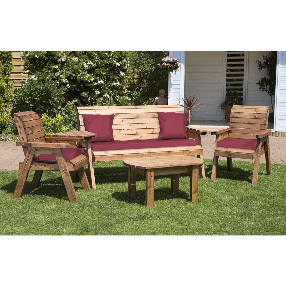 Charles Taylor Five Seater Multi Set with Burgundy Cushions