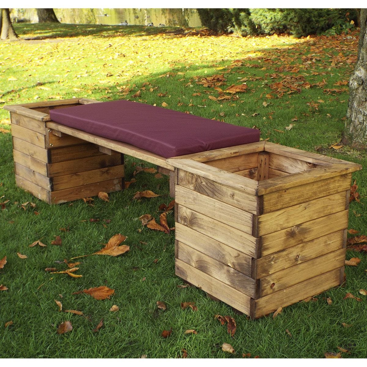Charles Taylor Deluxe Planter Bench with Burgundy Cushion