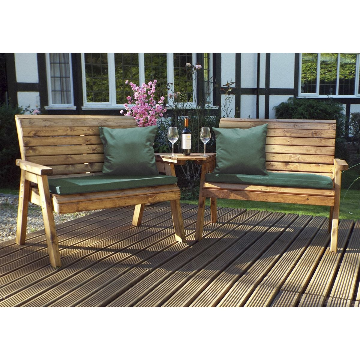 Charles Taylor Twin Bench Set Angled with Green Cushions and Fitted Cover