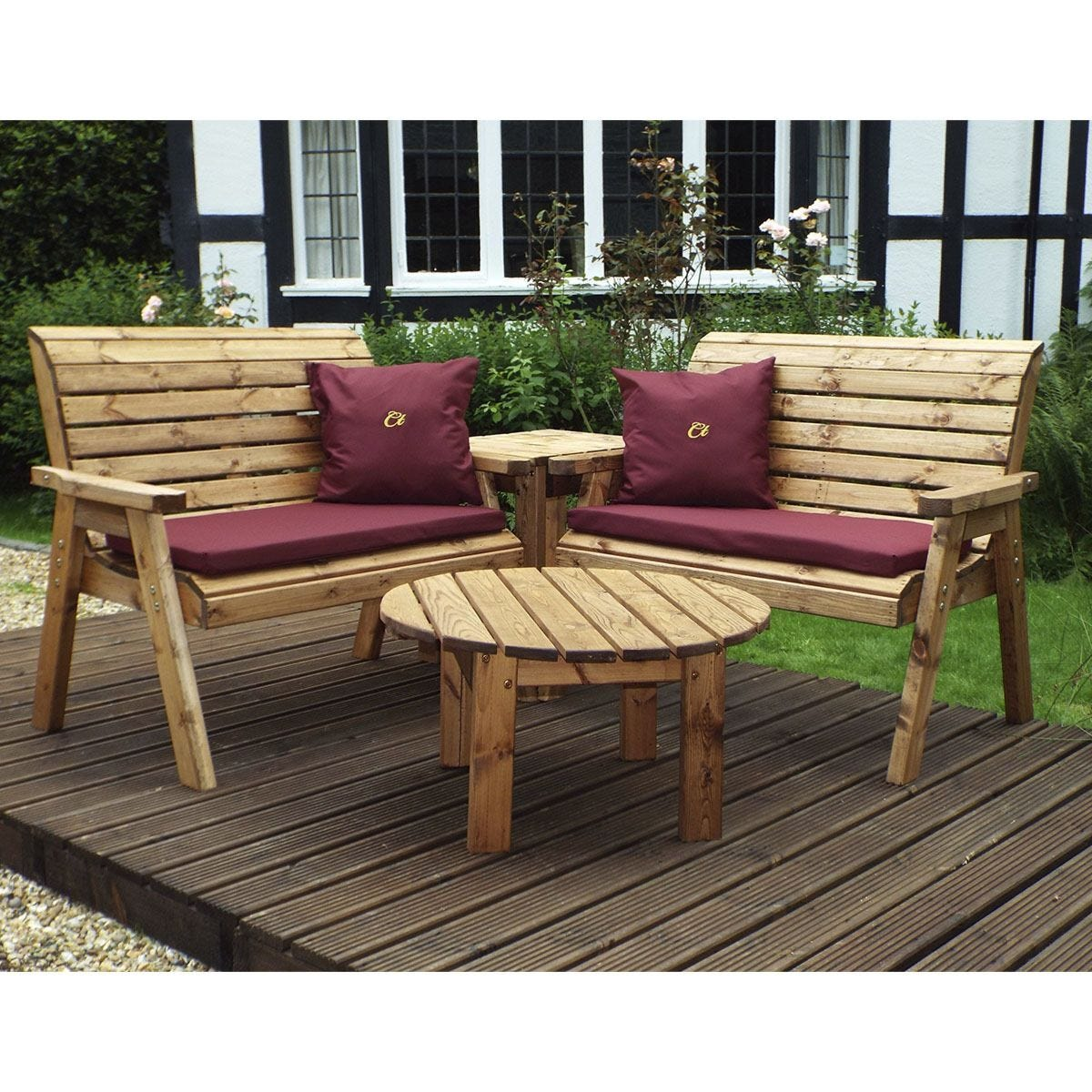Charles Taylor Four Seater Corner Unit with Burgundy Cushions