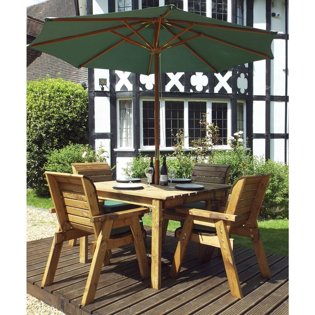 Charles Taylor 4 Seater Square Table Set with Cushions, Storage Bag, Parasol and Base