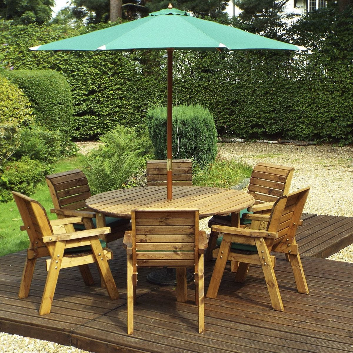 Charles Taylor 6 Seater Round Table Set with Green Cushions, Storage Bag, Parasol and Base