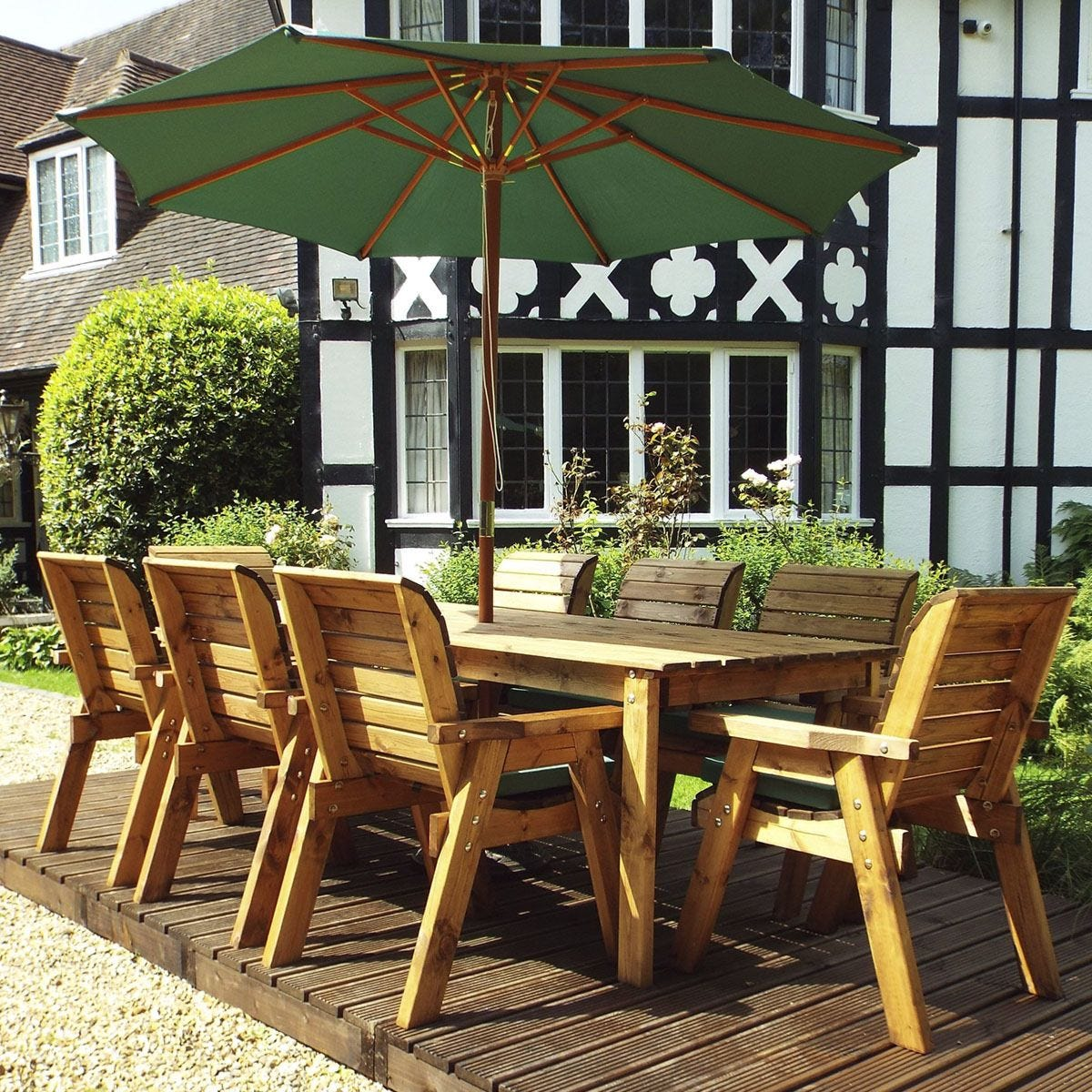 Charles Taylor 8 Seater Rectangular Table Set with Green Cushions, Storage Bag, Parasol and Base
