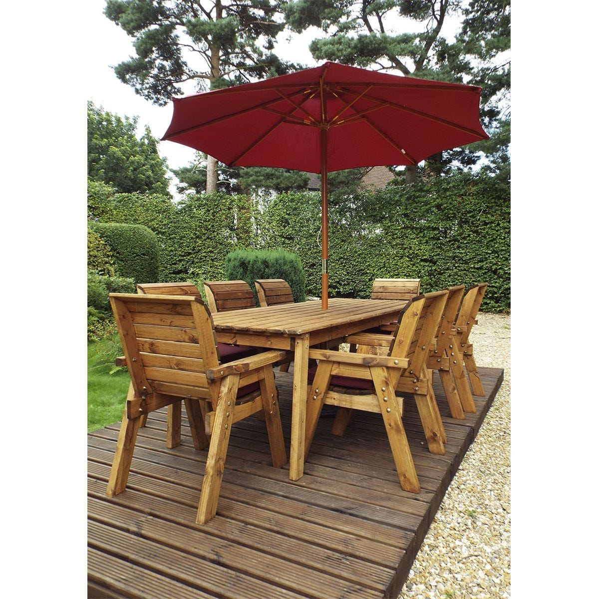 Charles Taylor 8 Seater Rectangular Table Set with Burgundy Cushions, Storage Bag, Parasol and Base