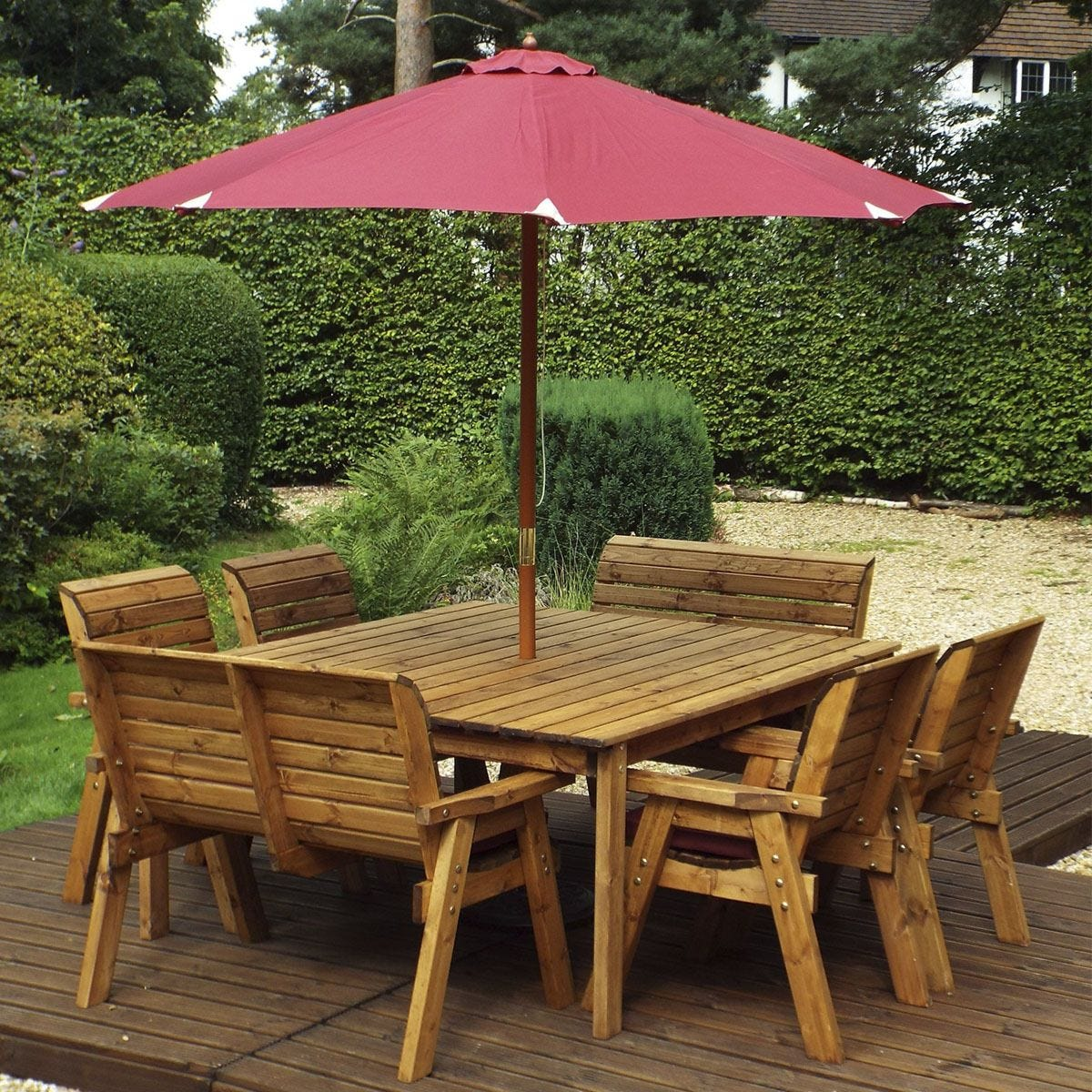 Charles Taylor 8 Seater Chair and Bench Square Table Set with Burgundy Cushions, Storage Bag, Parasol and Base