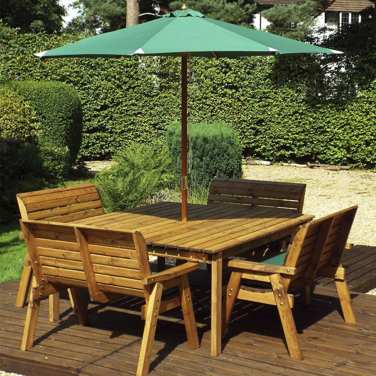 Charles Taylor 8 Seater Bench and Square Table Set with Cushions, Storage Bag, Parasol and Base