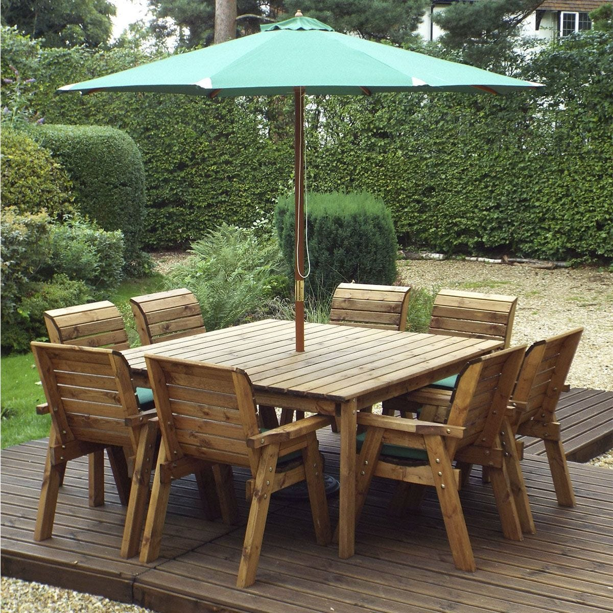 Charles Taylor 8 Seater Chair Square Table Set with Green Cushions, Storage Bag, Parasol and Base