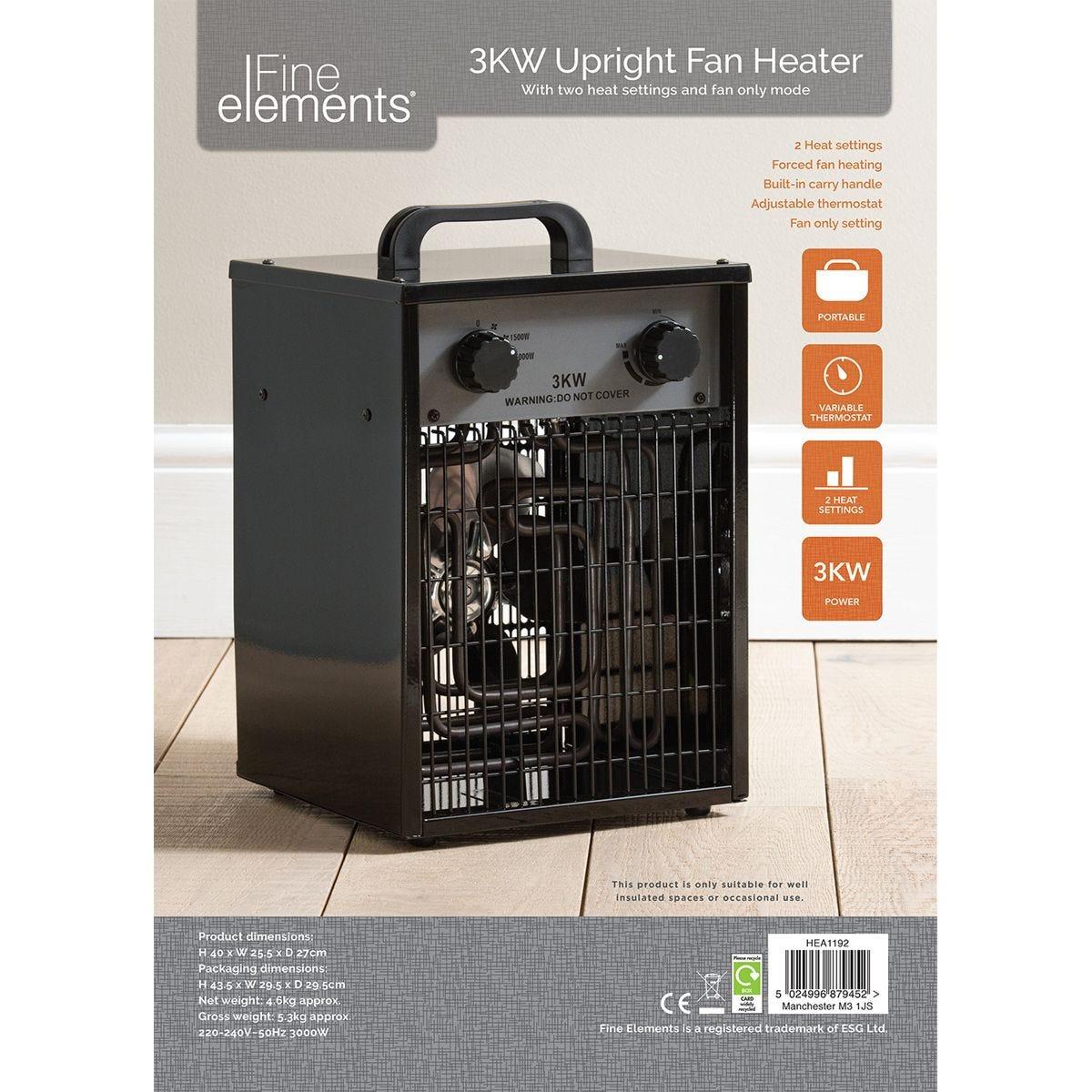 Fine Elements Upright 3kw Fan Heater - Black