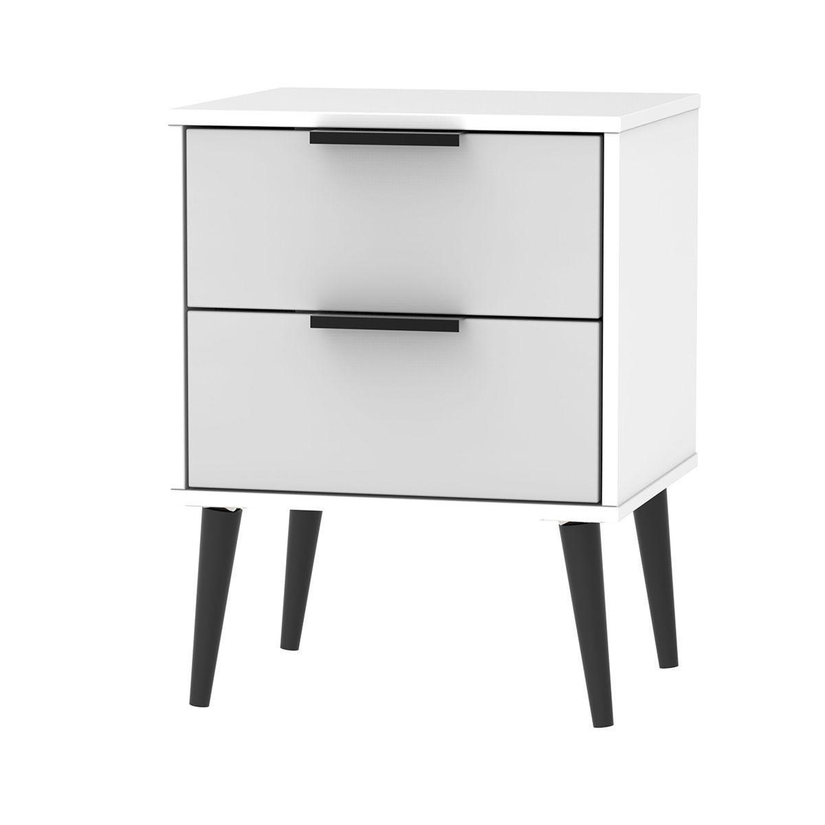 Hirato 2 Drawer Grey/White Locker With Black Wooden Legs
