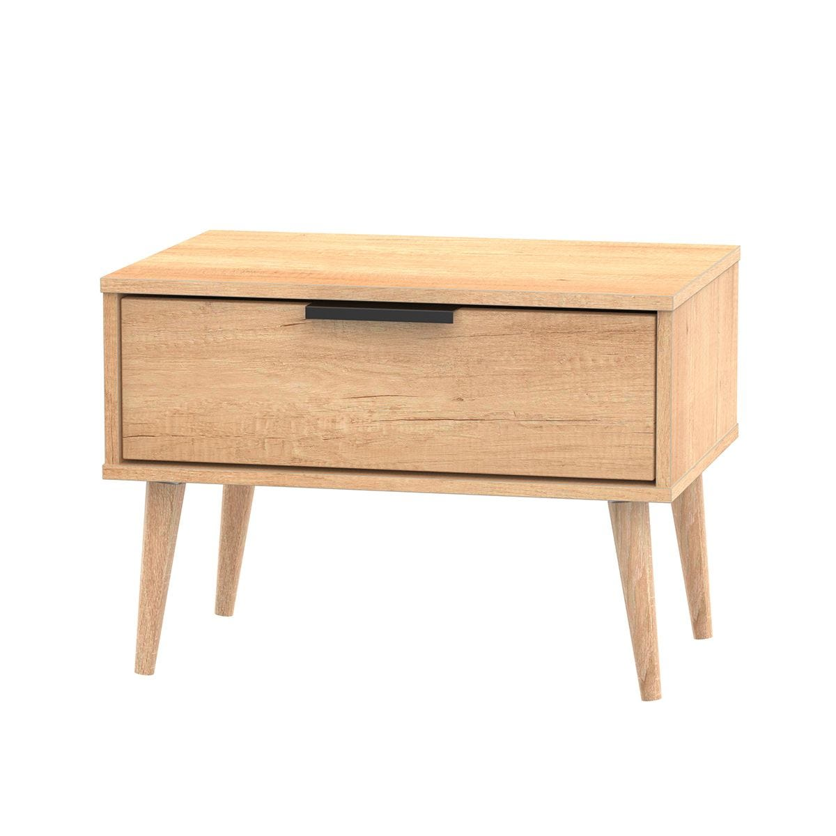 Hirato 1 Drawer Soft Oak Midi Chest With Black Hairpin Legs