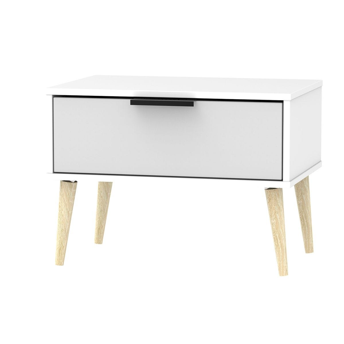 Hirato 1 Drawer Grey/White Midi Chest With Black Hairpin Legs