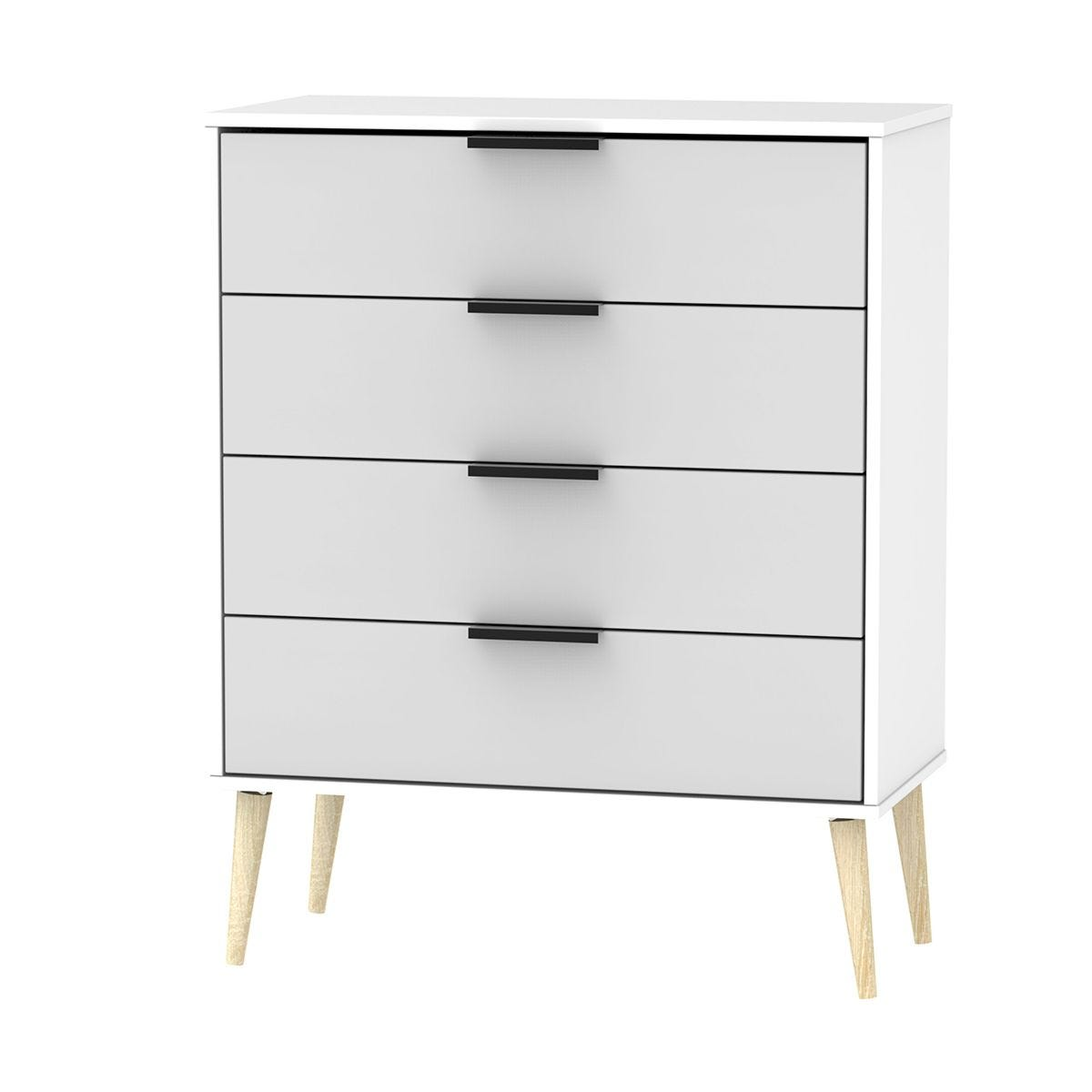 Hirato 4 Drawer Grey/White Chest With Black Hairpin Legs