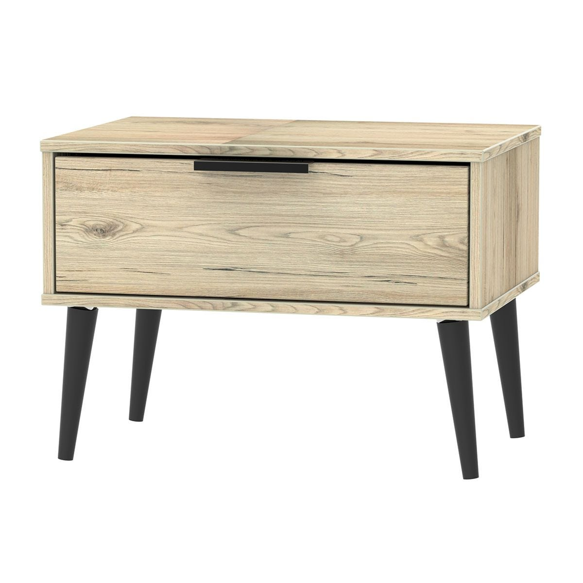 Hirato 1 Drawer Rustic Oak Midi Chest With Black Wooden Legs