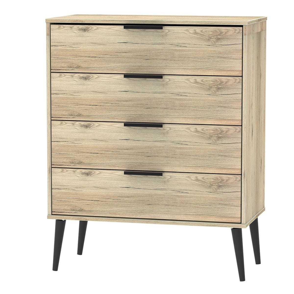 Hirato 4 Drawer Rustic Oak Chest With Black Wooden Legs