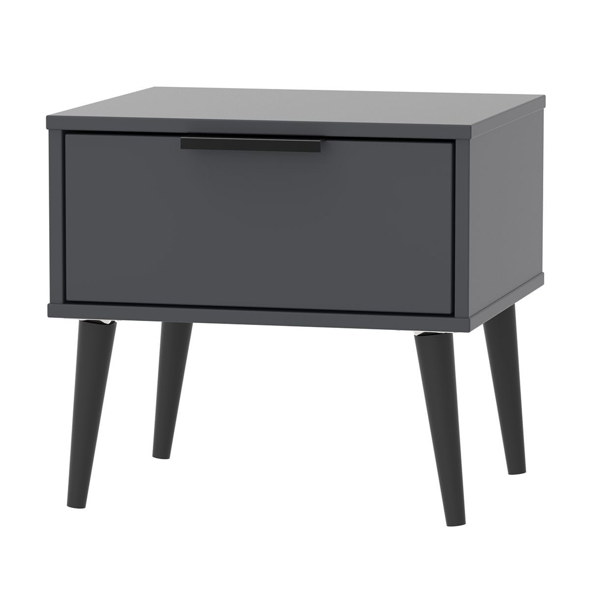 Hirato 1 Drawer Black Locker With Black Wooden Legs