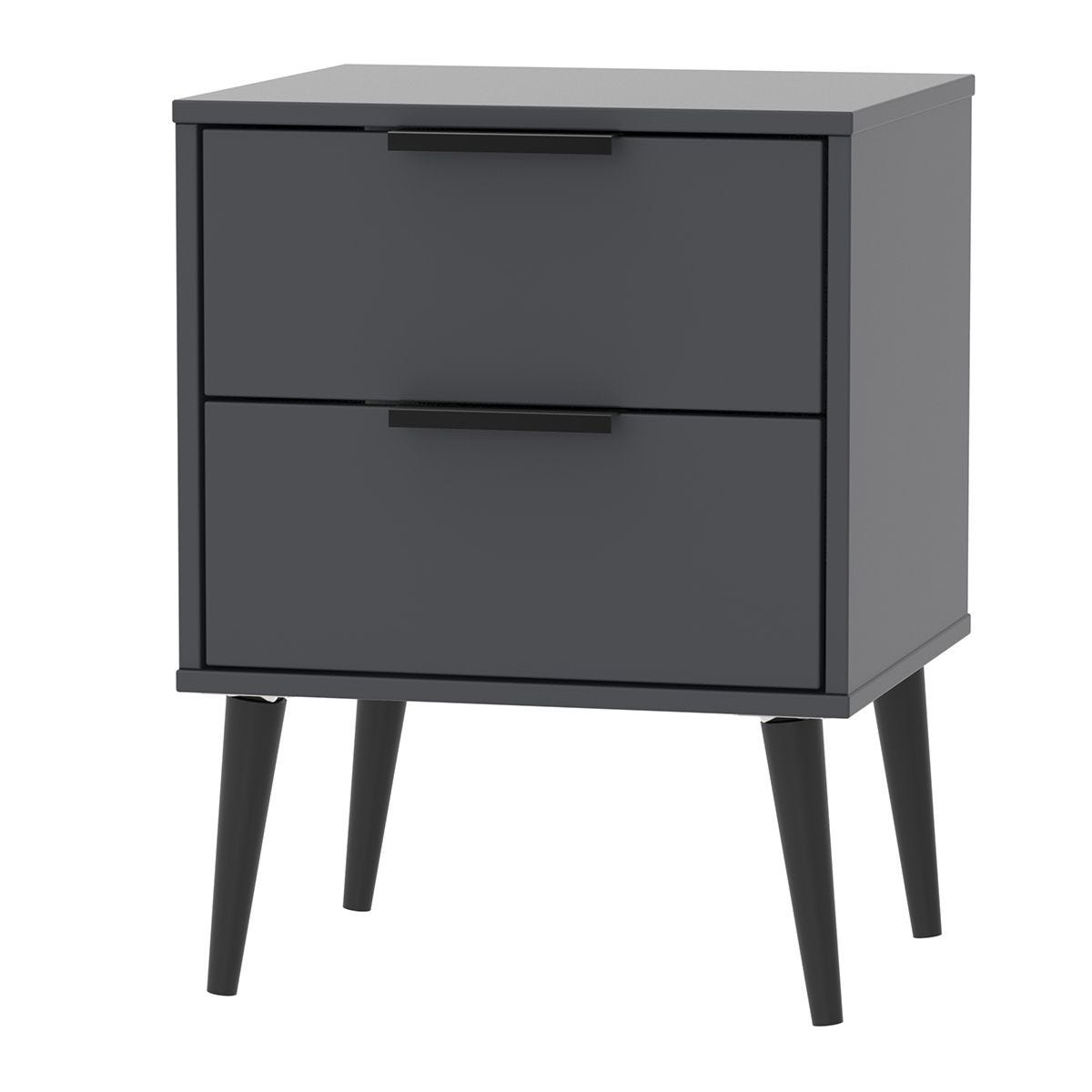 Hirato 2 Drawer Black Locker With Black Wooden Legs