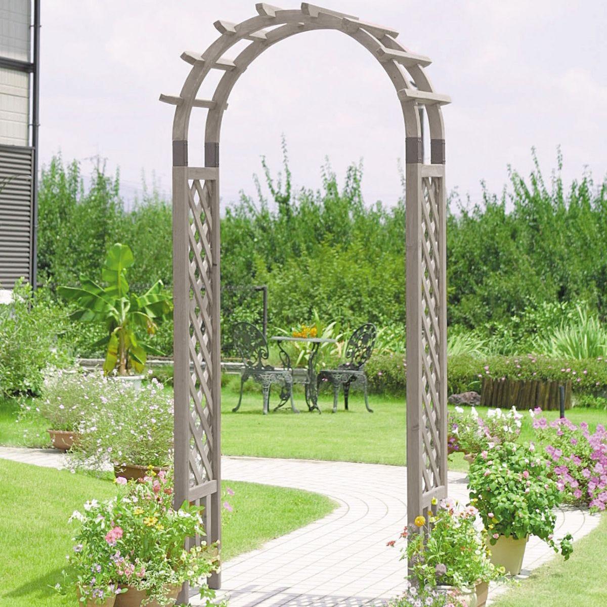 VegTrug Wooden Garden Arch Grey Wash