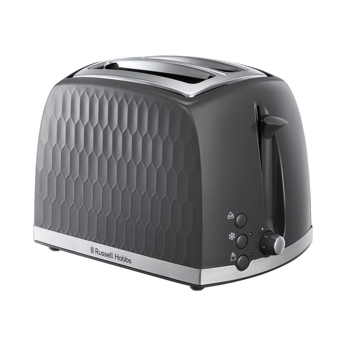 Russell Hobbs 26063 Honeycomb Textured 850W 2–Slice Toaster – Grey