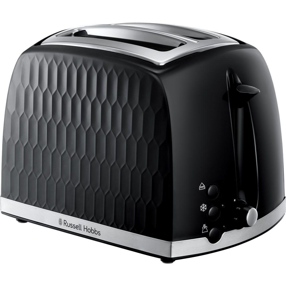 Russell Hobbs 26061 Honeycomb Textured 850W 2-Slice Toaster - Black