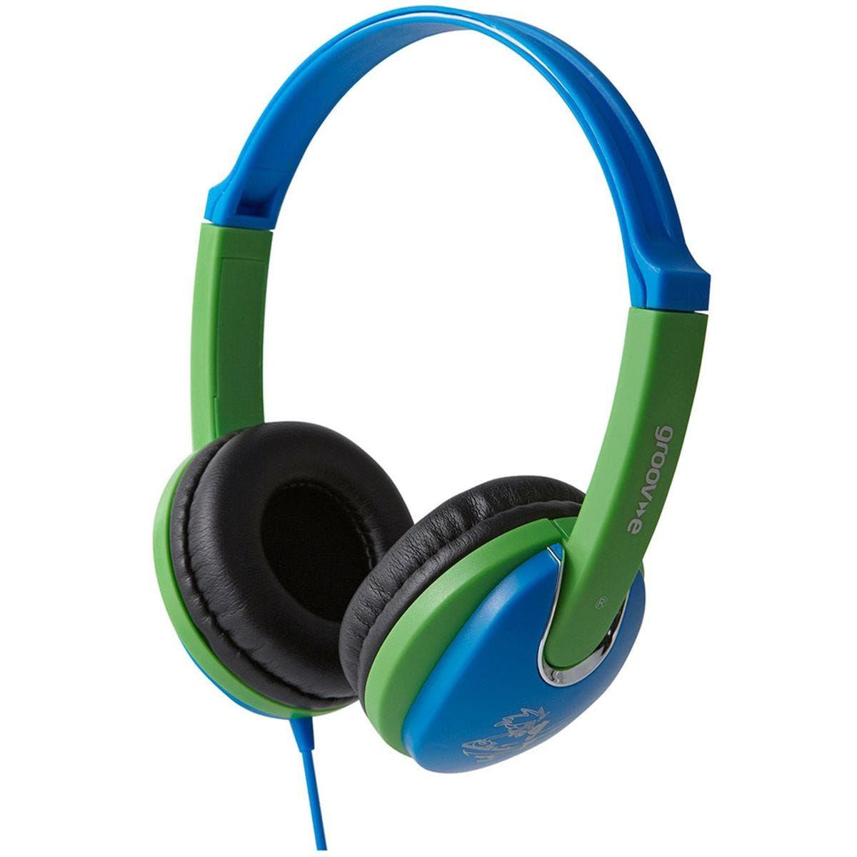 Groov-e Kiddiez DJ Style Headphone with 85dB Volume Limiter - Blue/Green