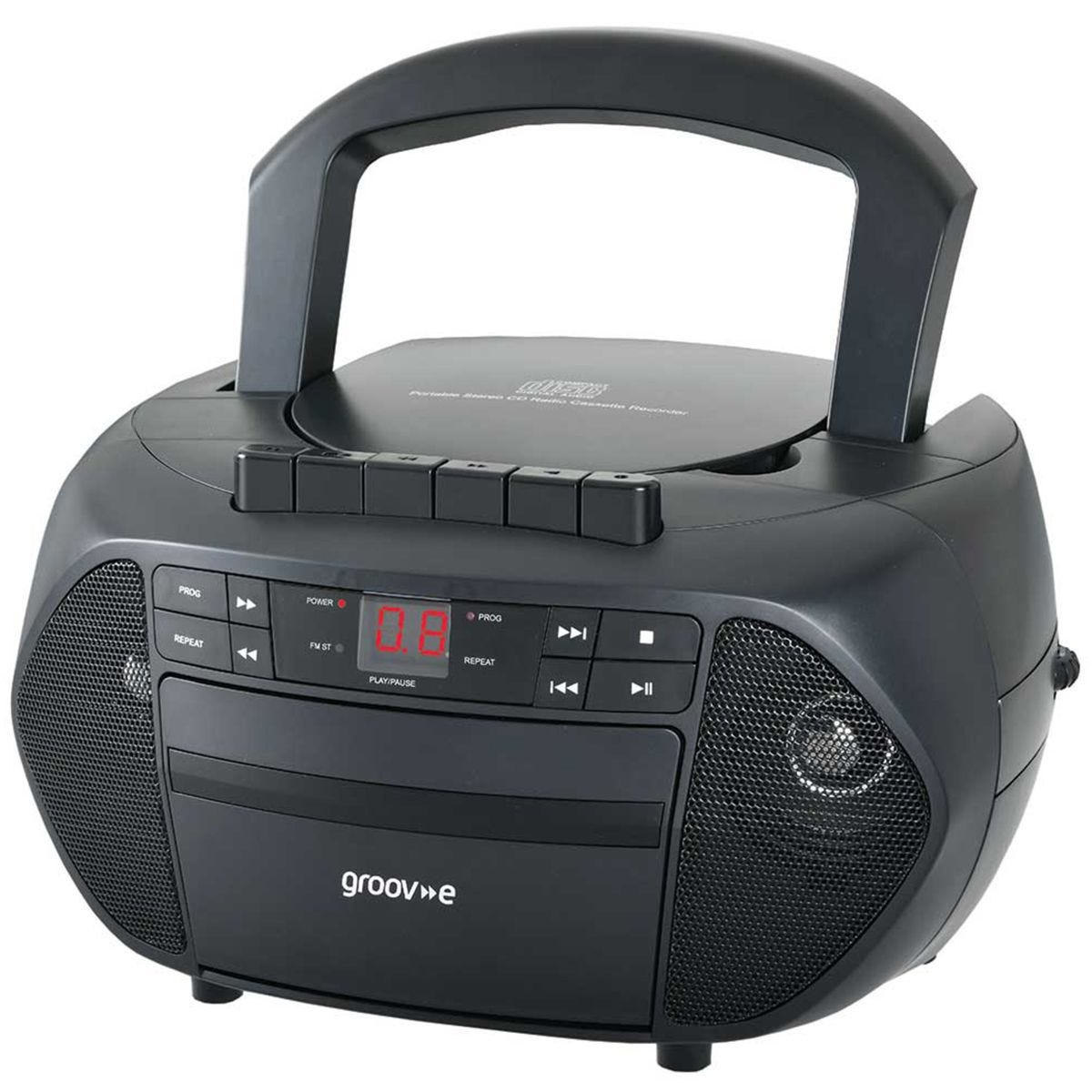 Groov-e Traditional Boombox Portable CD & Cassette Player with FM Radio - Black