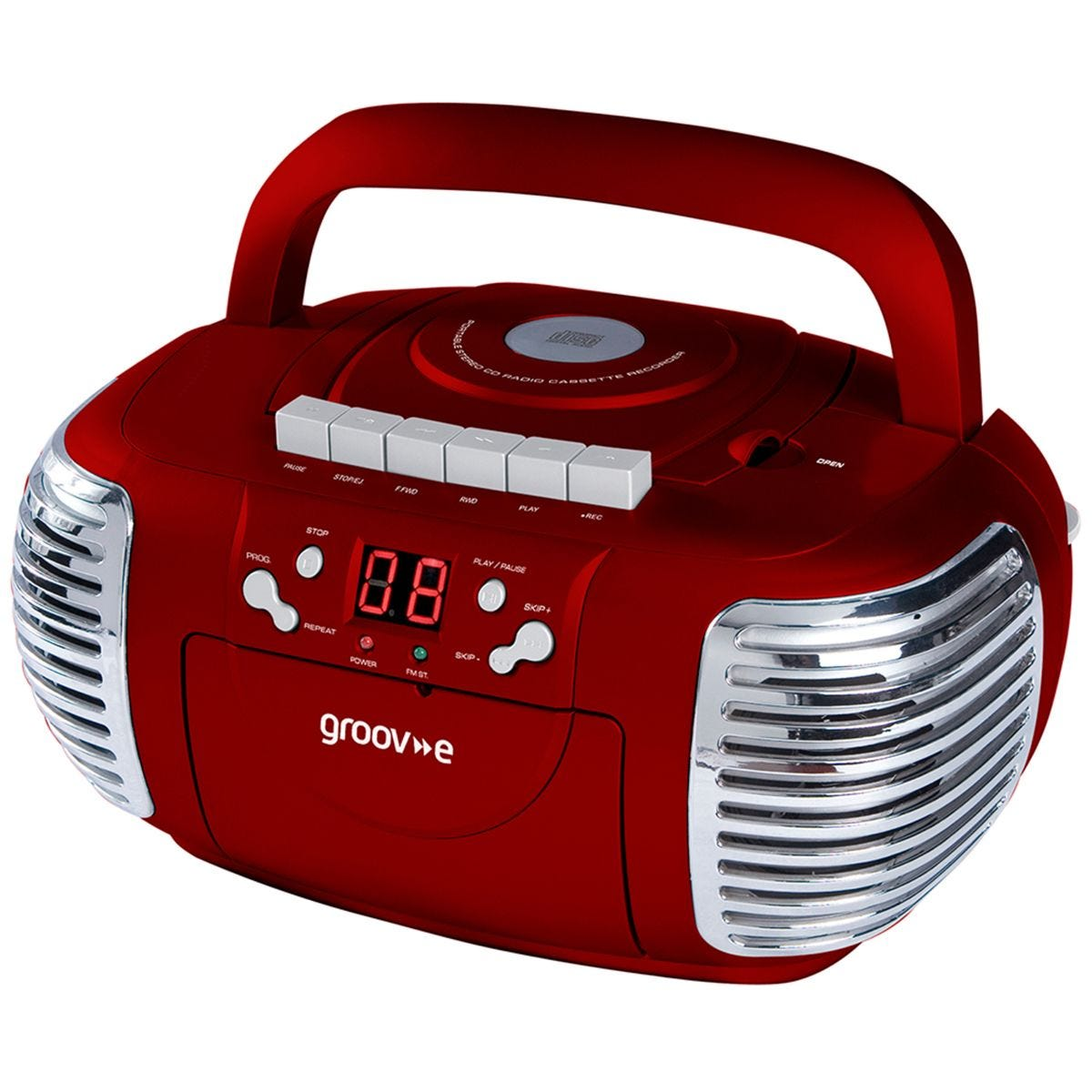 Groov-e Retro Boombox Portable CD & Cassette Player with Radio - Red
