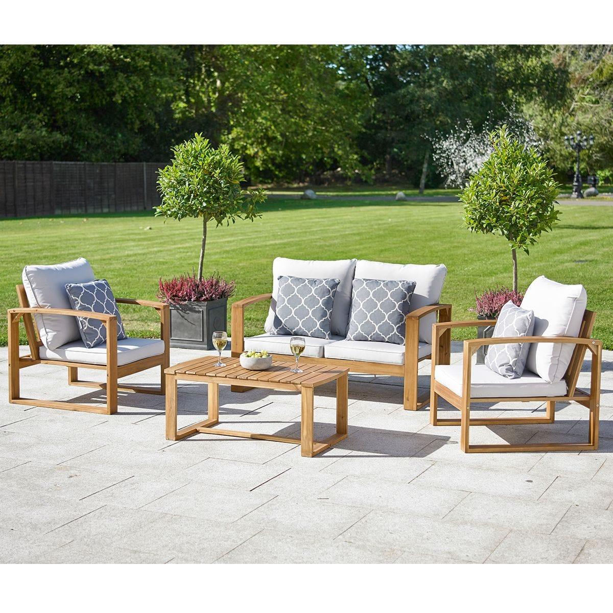 Greenhurst 4 Piece Rochester Hardwood Sofa Set with Cushions - Natural