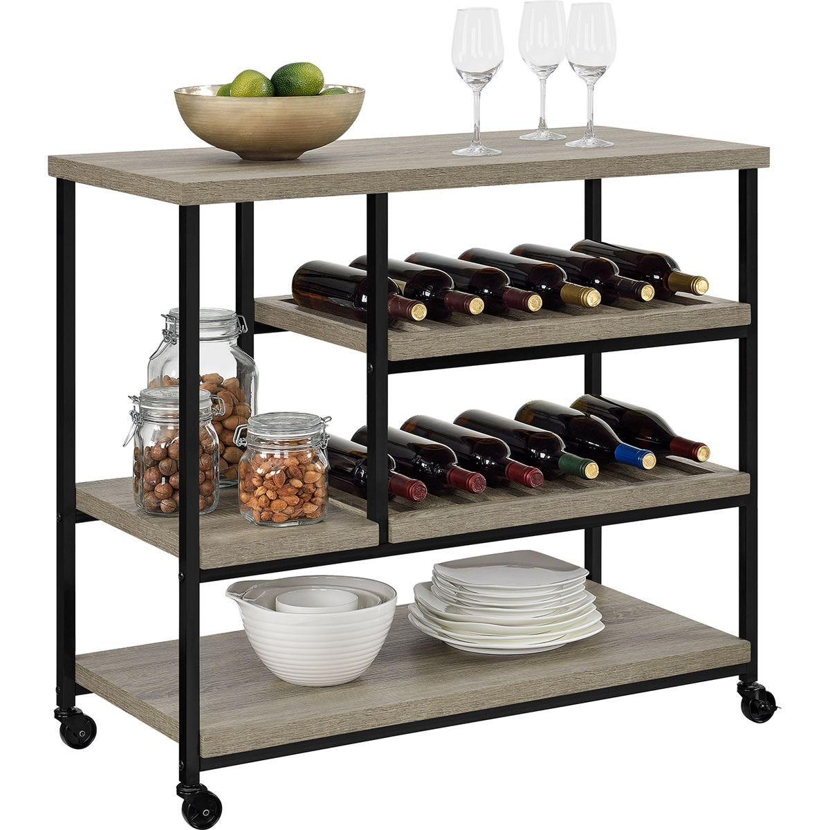 Dorel Elmwood Multi-Purpose Rolling Cart - Grey Oak