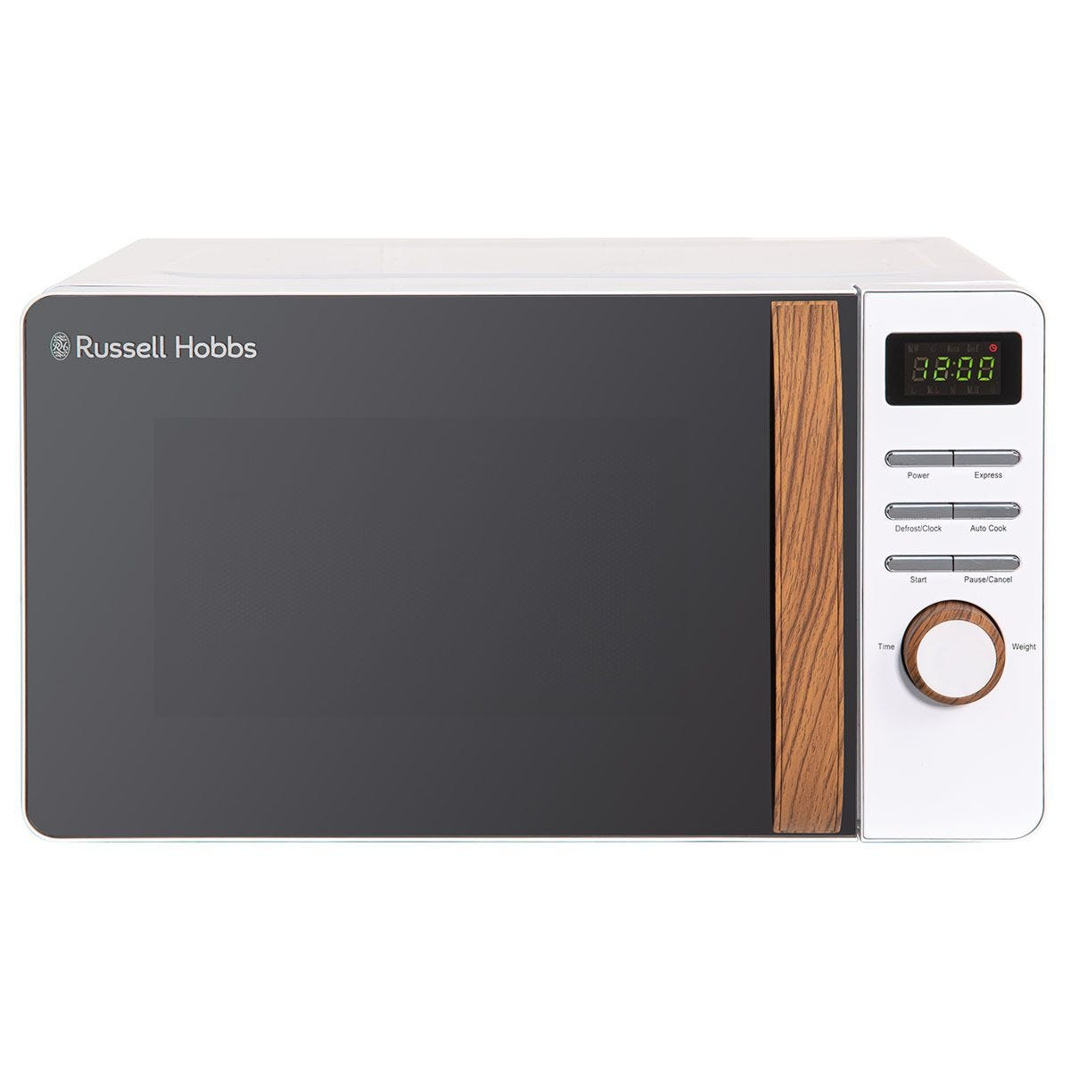 Russell Hobbs RHMD714 Scandi 700W 17L Digital Microwave - White with Wooden Effect Handle