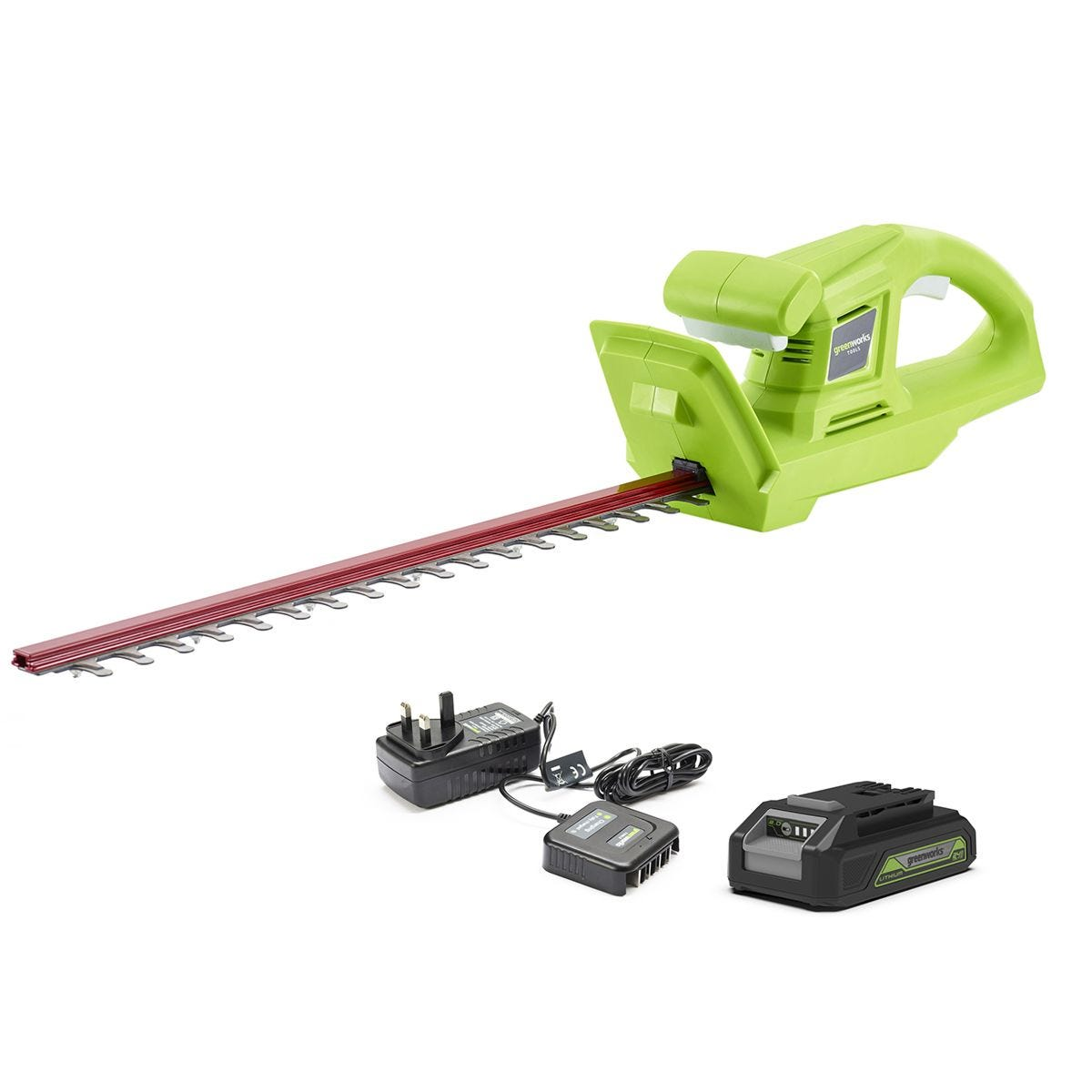 Greenworks 24v Cordless Hedge Trimmer with 2Ah Lithium-ion Battery and Charger