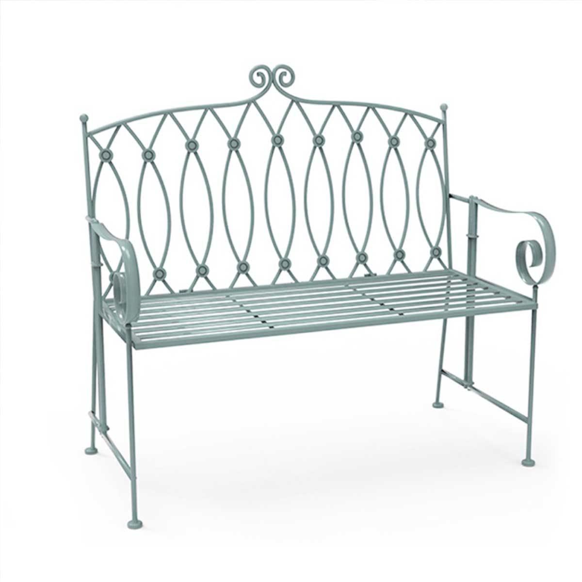 Charles Bentley Wrought Iron Bench - Sage Green