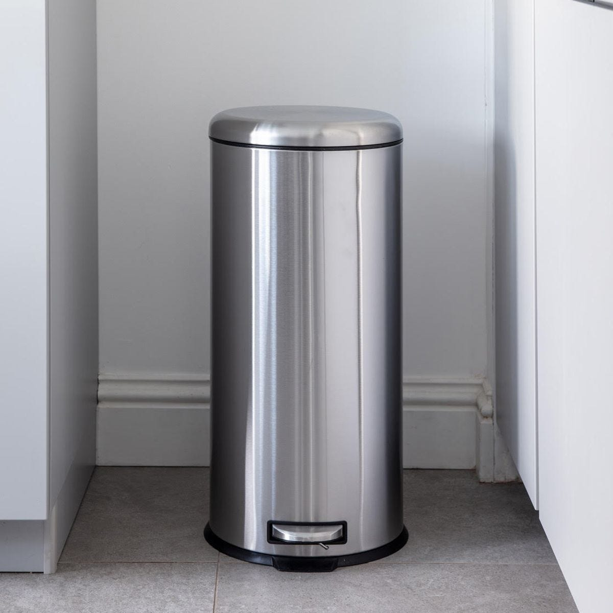 Addis 30L Stainless Steel Round Pedal Bin - Silver