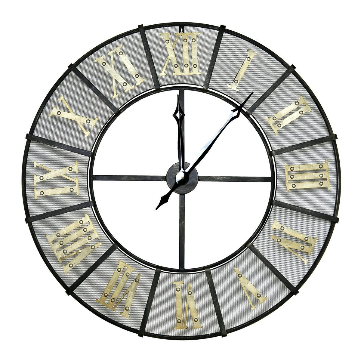 Charles Bentley Large Wrought Iron Wall Clock - Black & Gold
