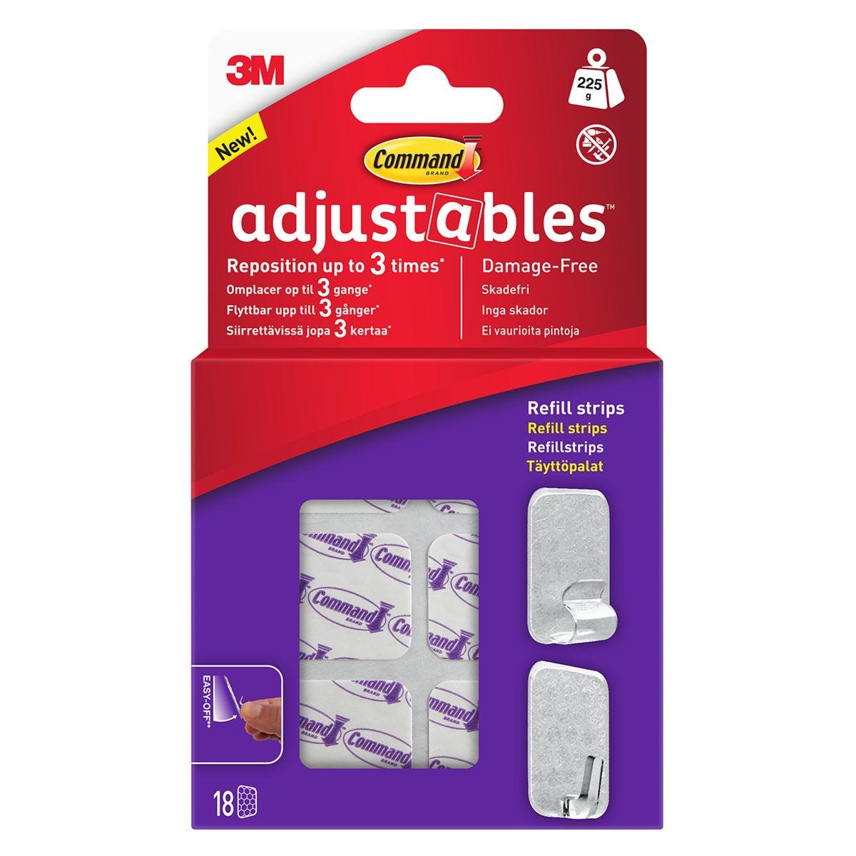 3M Command Adjustables Repositionable Refill Strips - Pack of 18
