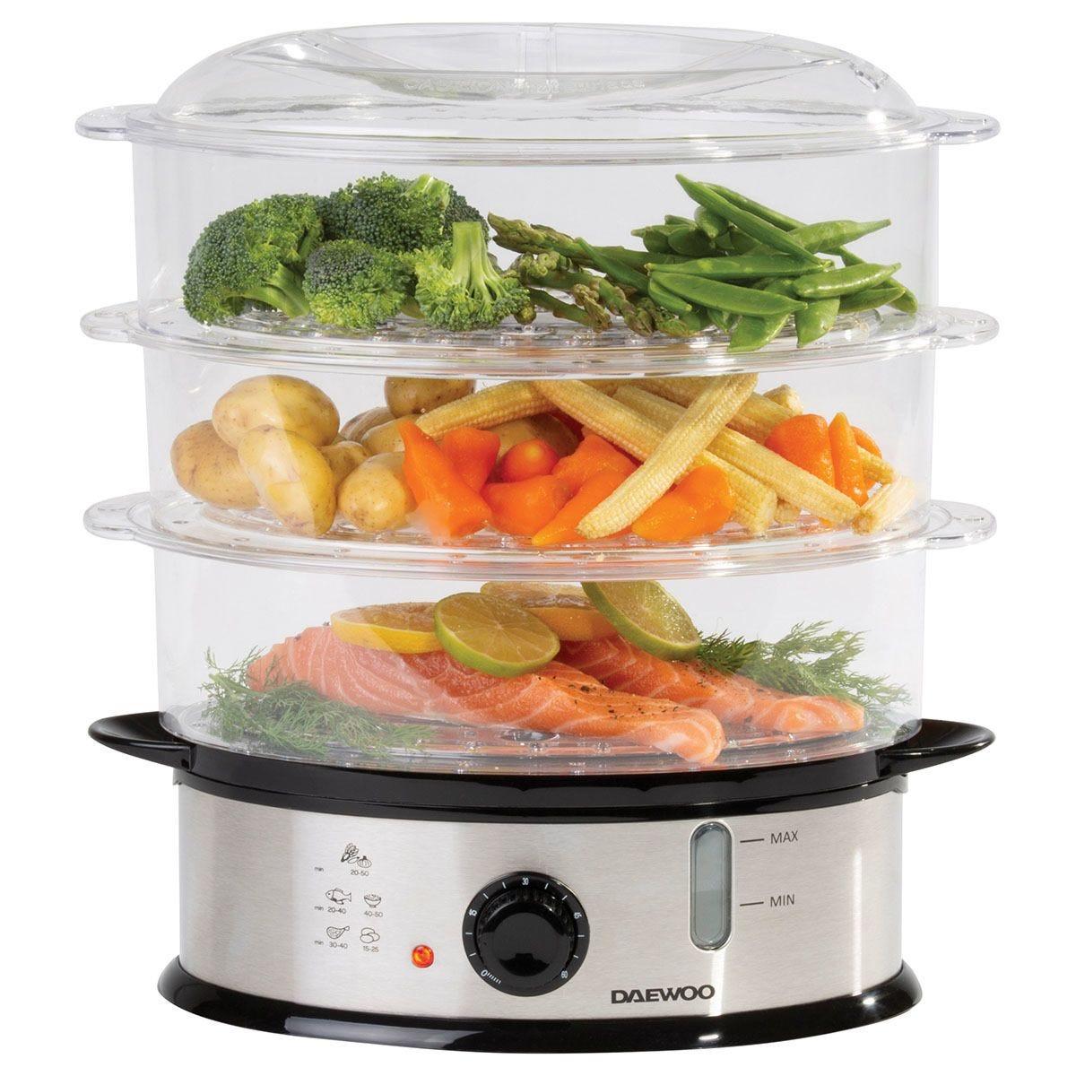 Daewoo SDA1338 1200W 9L 3–Layer Food Steamer – Silver