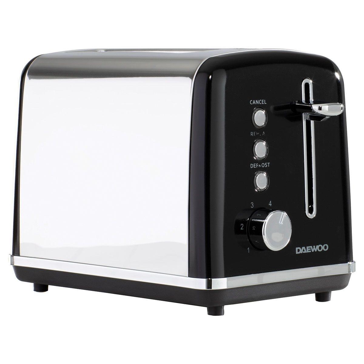 Daewoo SDA1583 Kensington 2–Slice Toaster with 6 Settings – Black