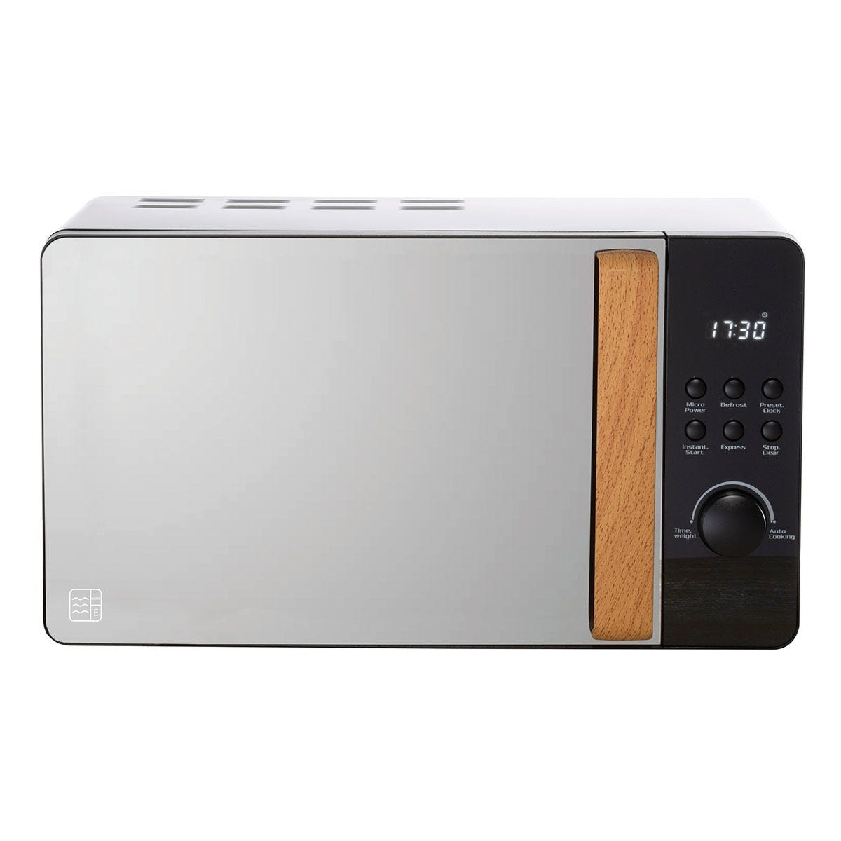 Daewoo Skandik 20L 800W Wooden-Handled Digital Microwave - Black