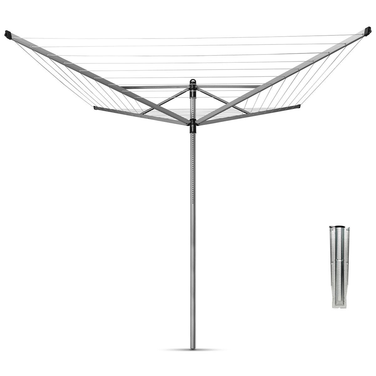 Brabantia Lift-O-Matic 60m 4-Arm Rotary Airer with Ground Spike