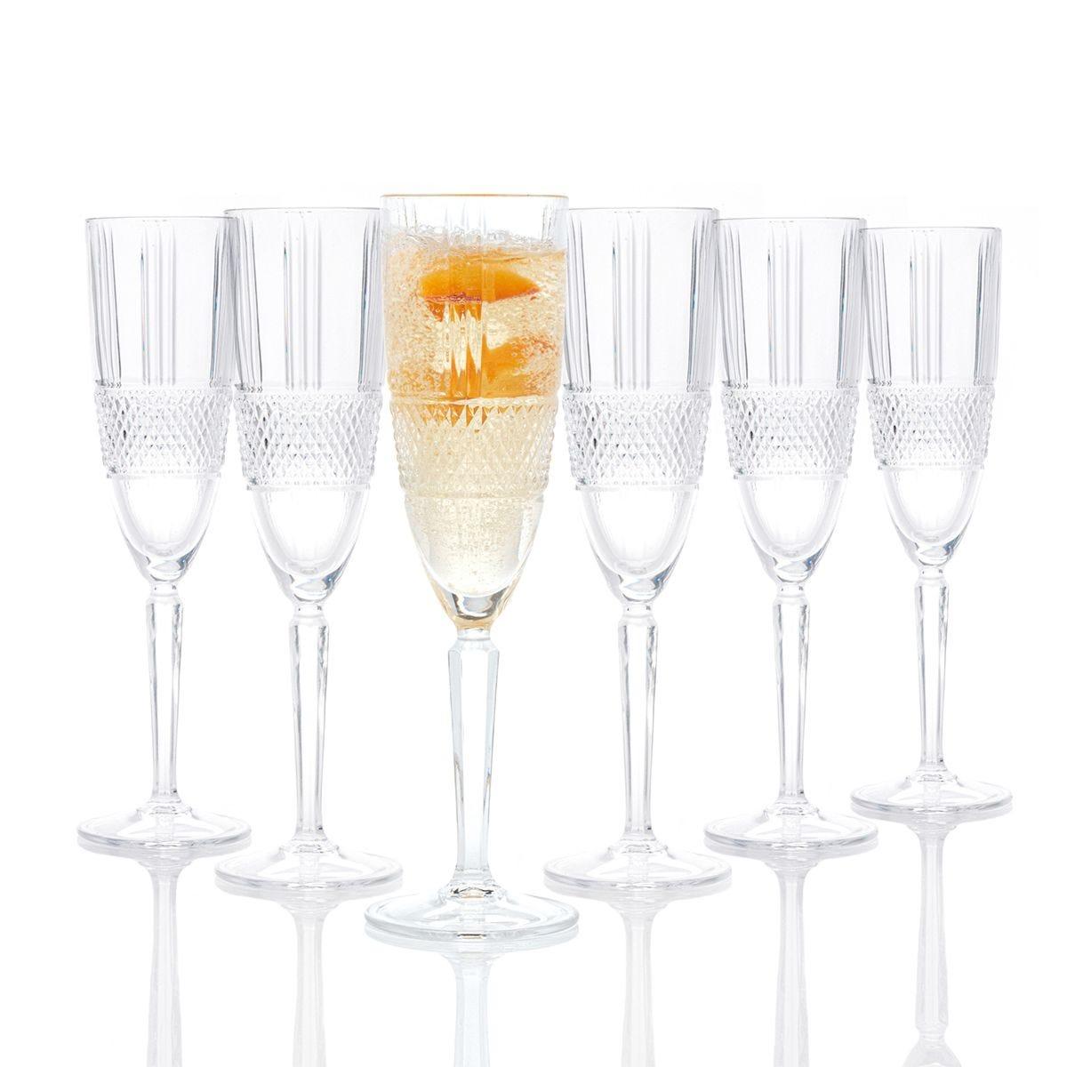 RCR Brilliante Crystal Champagne  Flutes - Set of 6